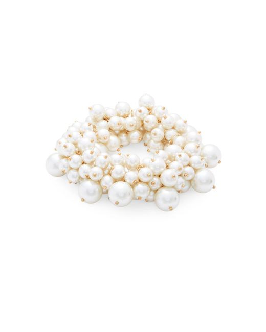Saks Fifth Avenue | 8-10mm White Faux Pearl Cluster Stretch Bracelet | Lyst