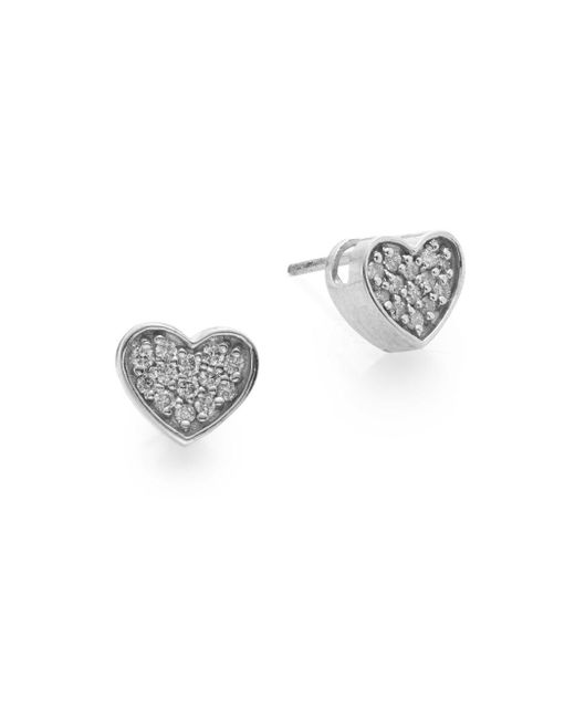 Effy - Metallic Diamond & 14k White Gold Heart Stud Earrings - Lyst