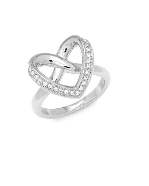 Swarovski - Metallic Crystal Heart Ring - Lyst