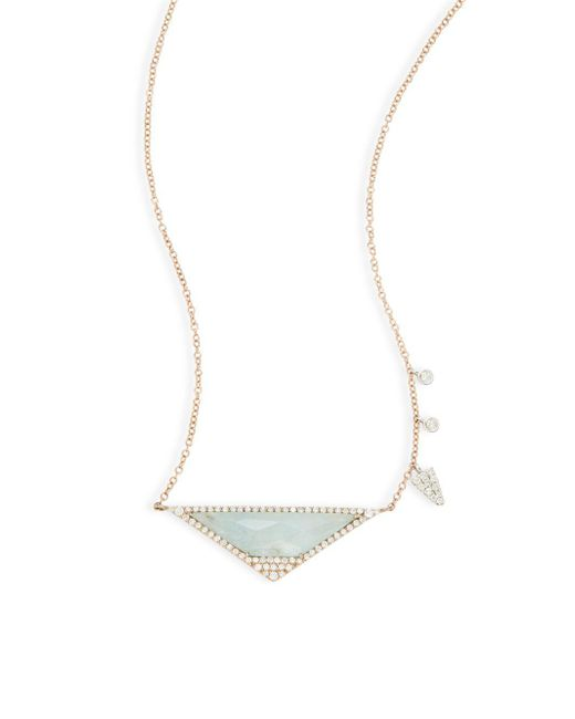 Meira T | Green Diamond & 14k Rose Gold Pendant Necklace | Lyst