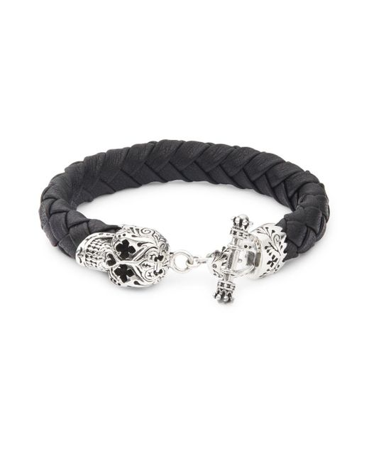 King Baby Studio - Metallic Sterling Silver & Leather Braided Skull Bracelet for Men - Lyst
