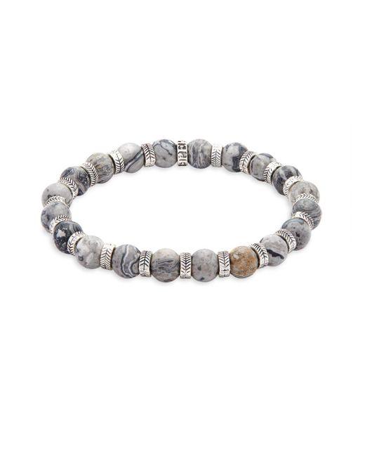 Perepaix - Metallic Stainless Steel & Netstone Beaded Bracelet - Lyst