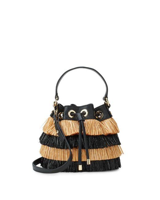 MILLY - Black Fringed Bucket Bag - Lyst