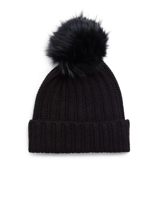 Saks Fifth Avenue - Black Dyed Fox Fur And Cashmere Soft Cap - Lyst