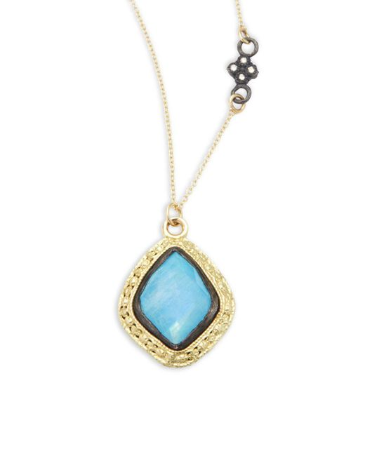 Armenta   Metallic Old World Champagne Diamond, Blue Turquoise, Rainbow Moonstone & 18k Goldplated Sterling Silver Pendant Necklace   Lyst