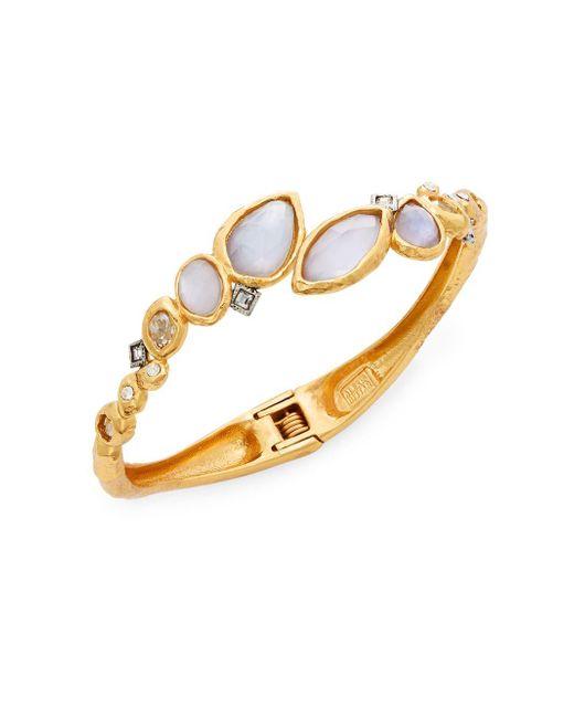 Alexis Bittar | Metallic Elements Iolite, Mother-of-pearl & Crystal Doublet Rocky Bypass Bracelet | Lyst