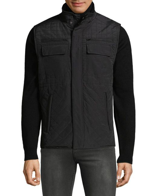 Vince Camuto | Black Quilted Utility Vest for Men | Lyst