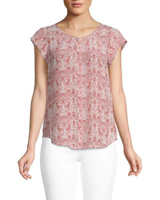 ed239e73a6a020 Lyst - Joie Iva Printed Silk Blouse in Pink