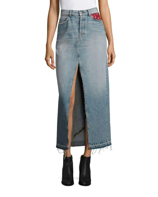 Tommy Hilfiger - Blue Patchwork Denim Maxi Skirt - Lyst