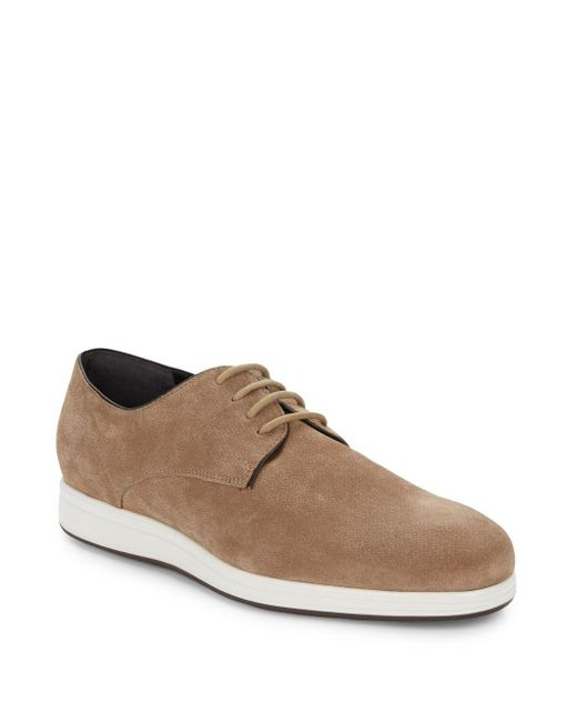 Vince - Natural Yuri Embossed Suede Derby Shoes for Men - Lyst