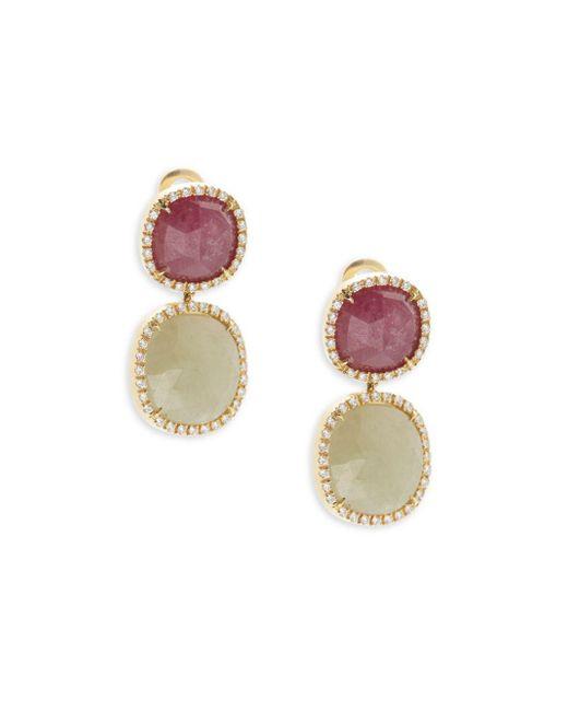 Marco Bicego - Metallic Sapphire, Diamond & 18k Yellow Gold Double Drop Earrings - Lyst