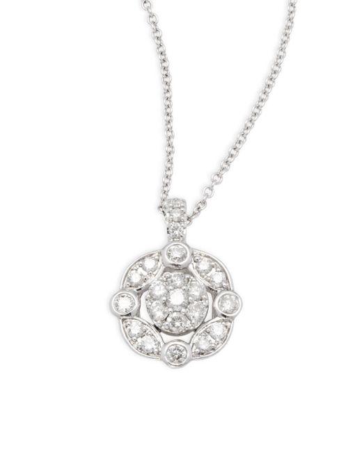 Effy - White Diamond & 14k White Gold Pendant Necklace - Lyst