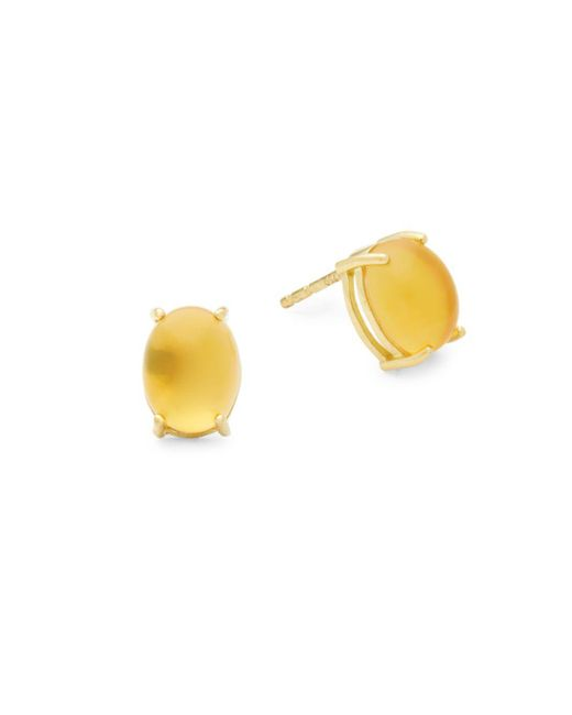 Roberto Coin - Metallic Cabachon Gemstone 18k Yellow Gold Stud Earrings - Lyst