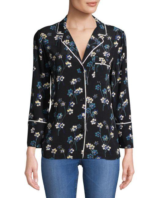 d75e3ca32b815b Ella Moss - Black Printed Pajama Top - Lyst ...