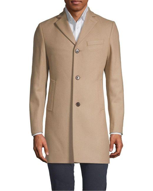 10bdcc206d J.Lindeberg Notch Lapel Wool Blend Coat in Natural for Men - Lyst