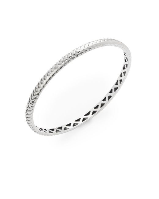 Effy   Metallic Textured 18k White Gold Plated Sterling Silver Bangle Bracelet   Lyst