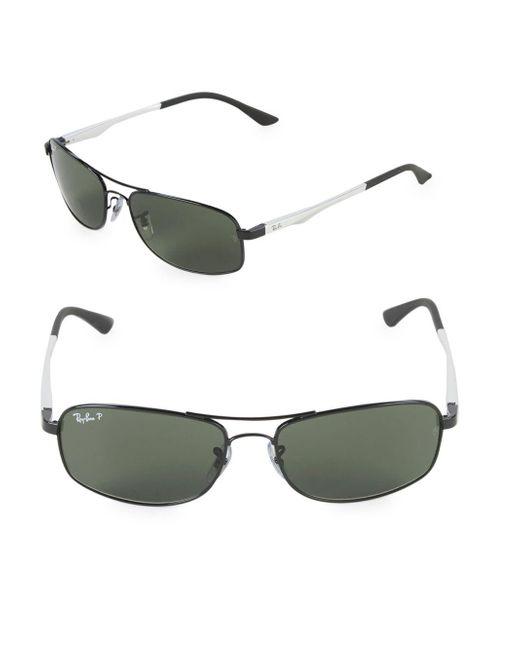 Ray-Ban - Black 60mm Polarized Rectangle Sunglasses - Lyst
