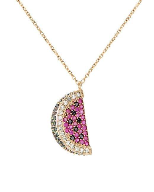 Gabi Rielle - Metallic Watermelon Green, Black, White & Ruby Crystal Pendant Necklace - Lyst