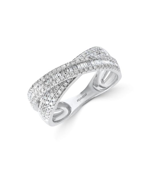 Effy - Metallic Classique Diamond And 14k White Gold Crisscross Ring 0.67 Tcw - Lyst