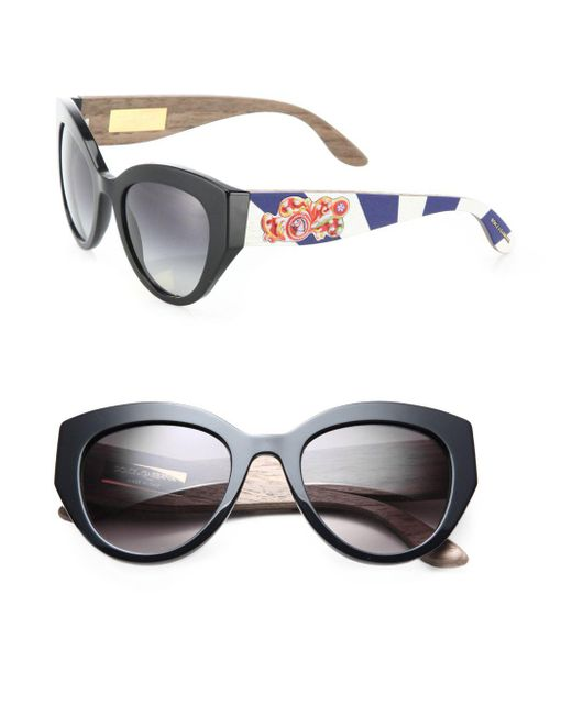 Dolce & Gabbana - Black Sicilian Carretto 52mm Metal & Wooden Cat's-eye Sunglasses - Lyst
