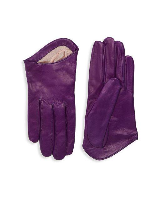 Portolano - Purple Classic Leather Gloves - Lyst
