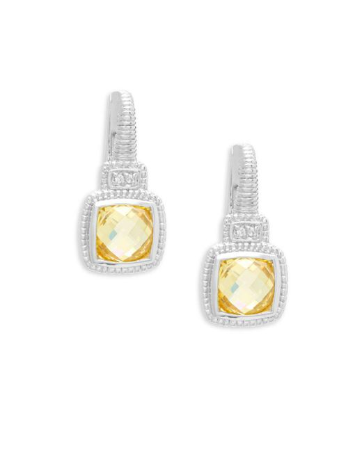 Judith Ripka - Metallic White Sapphire And Canary Crystals Cushion Drop Earrings - Lyst