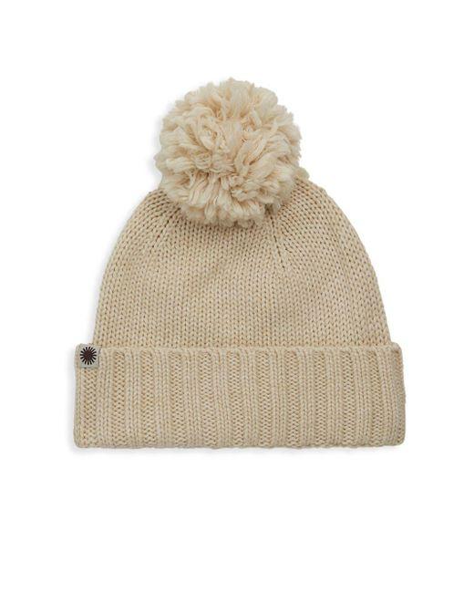 Ugg - Natural Pom-pom Knit Hat - Lyst
