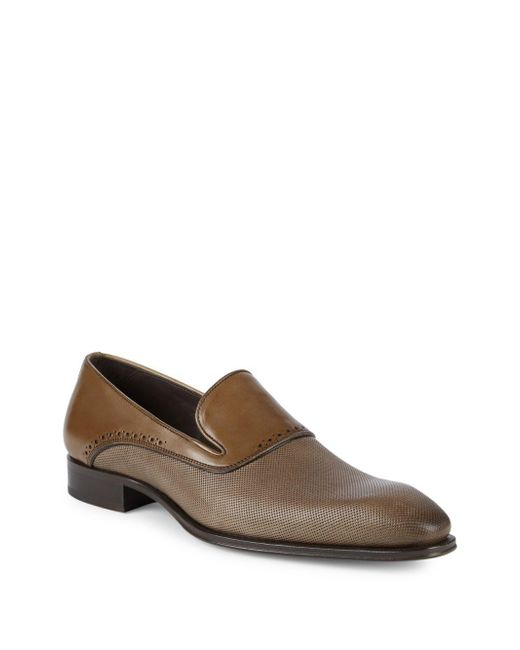 Mezlan - Brown 18431 Perforated Leather Loafers for Men - Lyst