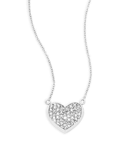 Effy   Diamond & 14k White Gold Heart Pendant Necklace   Lyst