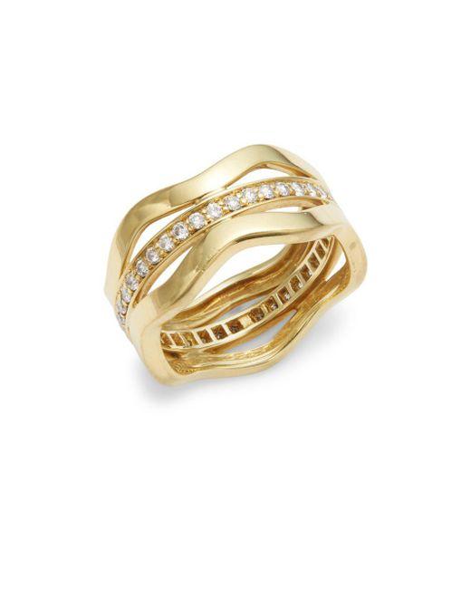 Kwiat | Metallic Wave Diamond & 18k Yellow Gold Fancy Ring | Lyst