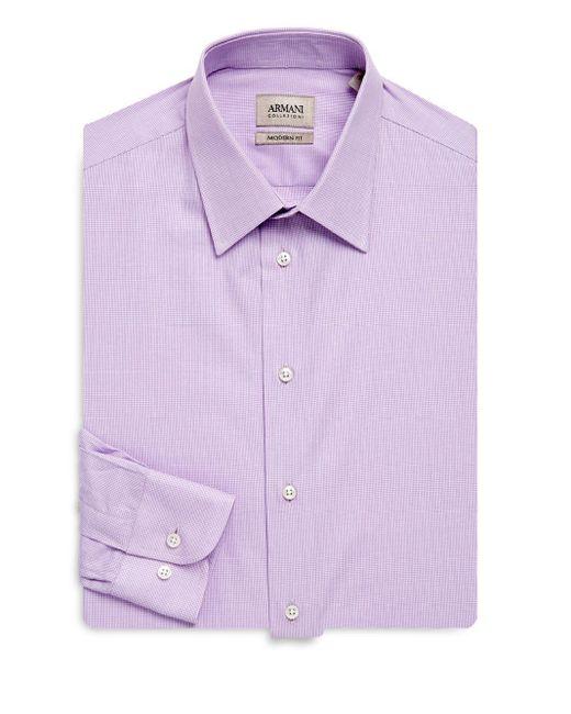 Armani   Purple Modern-fit Cotton Dress Shirt for Men   Lyst