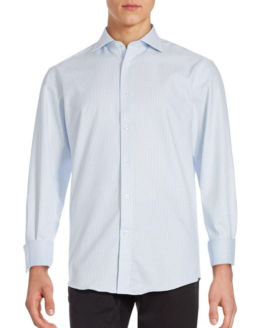 Bugatchi | Blue Tonal Jaquared Shirt for Men | Lyst