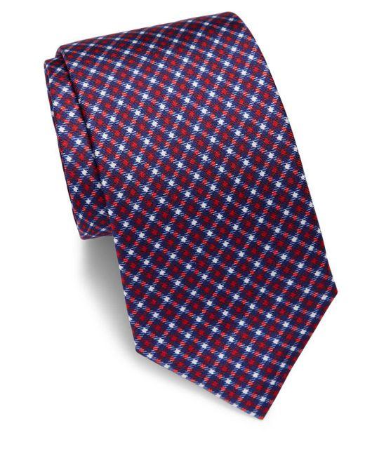 Saks Fifth Avenue   Blue Houndstooth Silk Tie for Men   Lyst