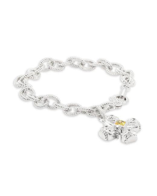 Judith Ripka - Metallic Sapphire And Crystal Cross Chain Bracelet - Lyst