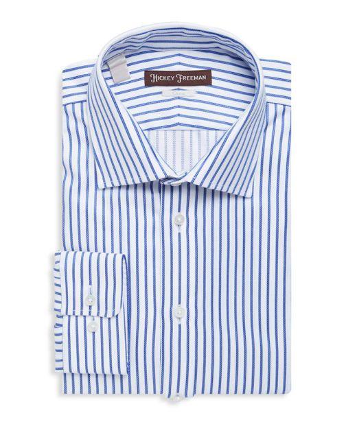 Hickey Freeman   Blue Textured Striped Cotton Dress Shirt for Men   Lyst