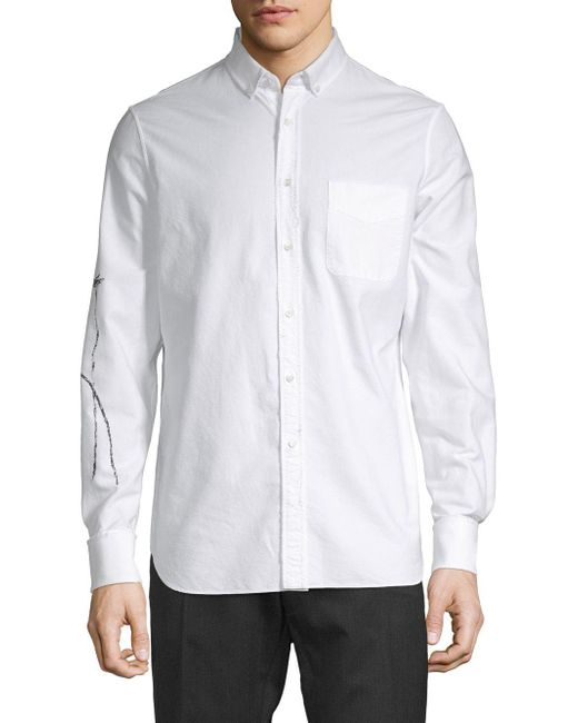 Valentino - White Graphic Sleeve Cotton Button-down Shirt for Men - Lyst