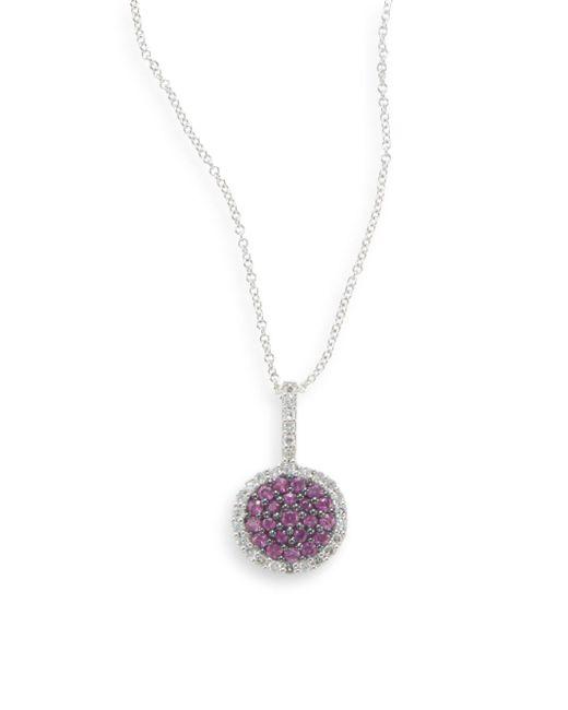 Effy | Purple Ruby, Diamond & 14k White Gold Round Pendant Necklace  | Lyst