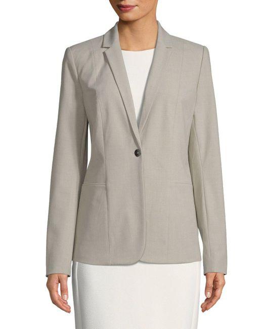 Tahari - Gray Queena Single Button Blazer - Lyst