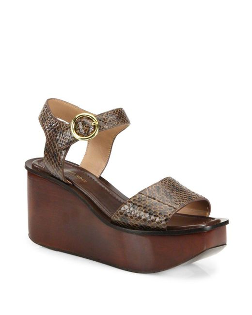 Michael Kors - Brown Bridgette Snakeskin Wedge Platform Sandals - Lyst