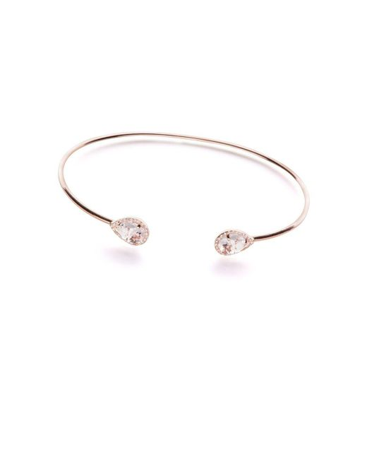 EF Collection - Metallic Diamond, White Topaz And 14k Rose Gold Teardrop Bangle Bracelet, 0.12 Tcw - Lyst