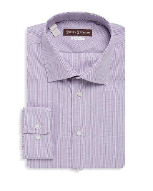 Hickey Freeman - Purple Mini Check Cotton Dress Shirt for Men - Lyst
