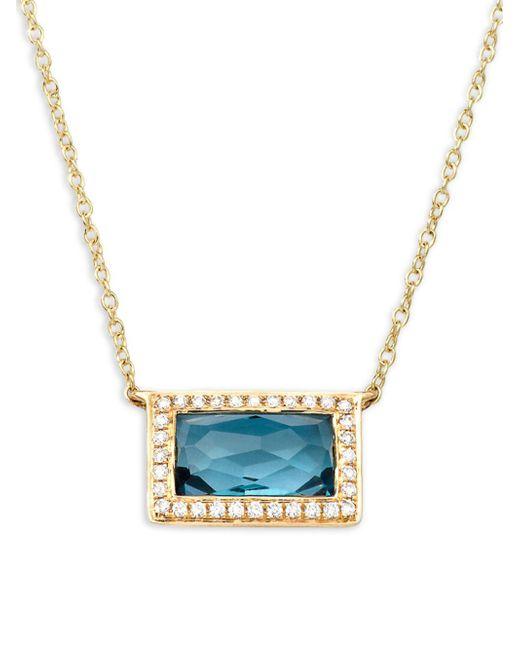 Ippolita - Metallic Rock Candy Diamond, London Blue Topaz And 18k Yellow Gold Pendant Necklace - Lyst