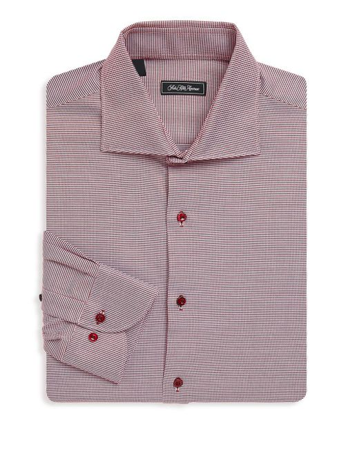 Saks Fifth Avenue Black - Red Spread-collar Plaid Cotton Dress Shirt for Men - Lyst