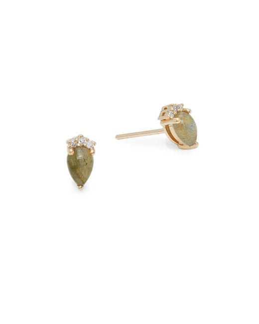 Saks Fifth Avenue - Metallic Diamond, Labradorite And 14k Yellow Gold Round Stud Earrings - Lyst