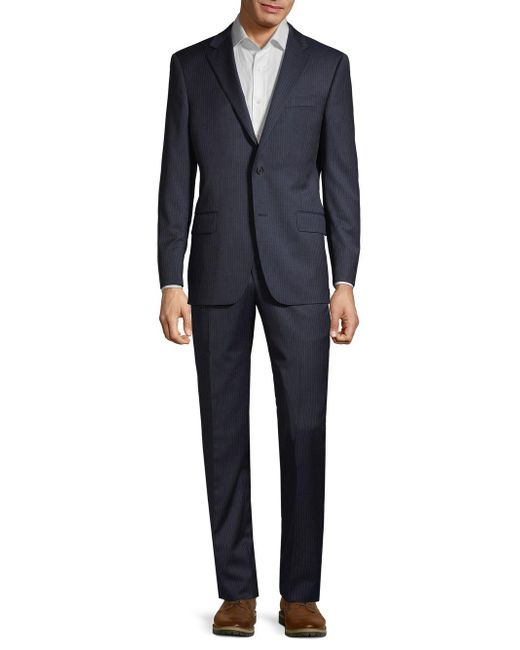 Hickey Freeman Blue Classic-fit Pinstriped Wool Suit for men