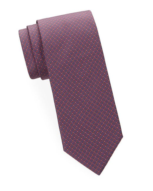 Brioni - Purple Abstract Geometric Silk Tie for Men - Lyst