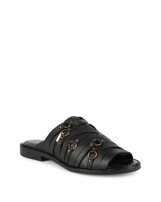 Kelsi Dagger Brooklyn - Black Classic Leather Flat Sandals - Lyst