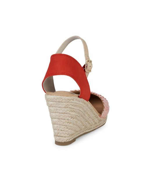 2511323eb46 Lyst - Me Too Brenna Envelope Wedge Sandals in Red