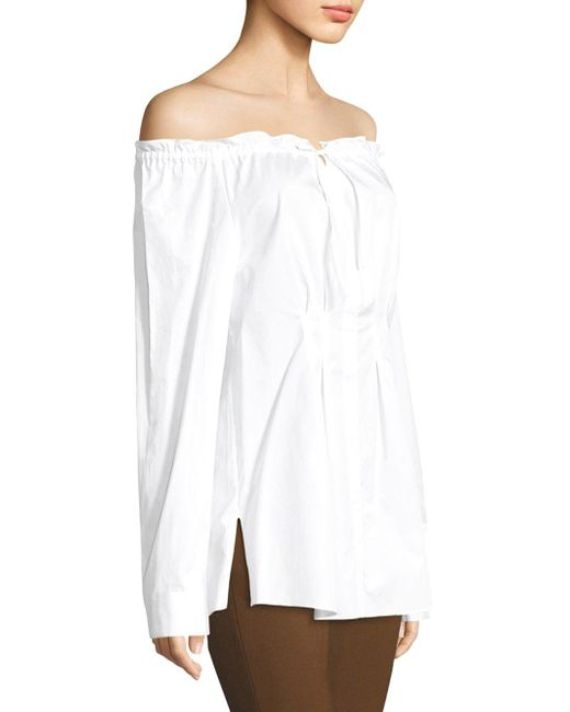 bcb26546373 Tibi Ruched Off-the-shoulder Shirt in White - Save 25% - Lyst
