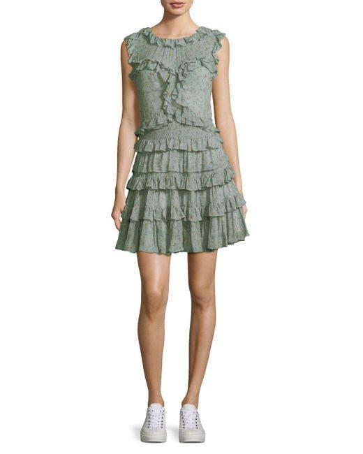 Rebecca Taylor - Green Vine Silk Ruffled Dress - Lyst